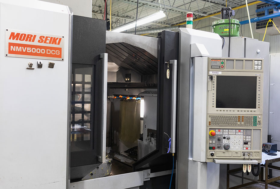 Our Mori-Seiki 5-axis Vertical Mill-Turn machining centre is equipped with an 8 pallet pool and 180 tool ATC.